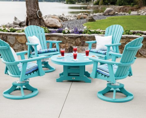 Comfo Back Swivel Rockers with 38 Inch Round Conversation Table Lifestyle (Large)